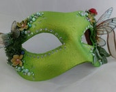 Masquerade mask, fairy wings, costume mask, fae, fairies live here, fantasy costume mask, fairy queen mask, unique masks, OOAK MASKS, green