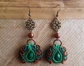 Handmade soutache earrings. Vegan friendly.