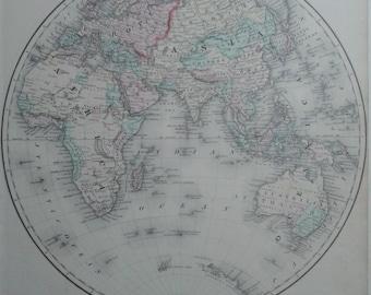 Eastern Hemisphere, Map, Original Antique Handcolored Engraving,  C1850S