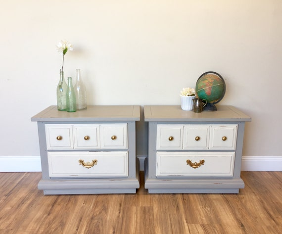 Gray Nightstands - Beach Cottage Furniture - 2 Drawer Nightstands - Shabby Chic Nightstands - Vintage Furniture - Bed Side Tables, Matching