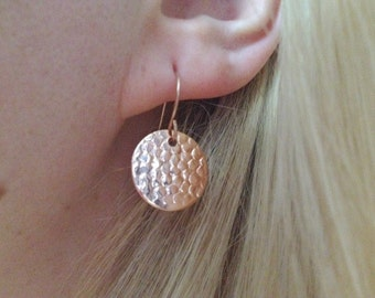 Mini Rose Gold Hammered Coin Earrings