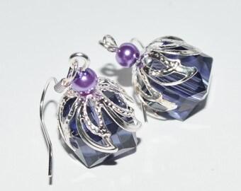 Crystal square purple women earrings