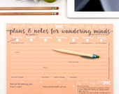 Desk Pad - Wandering Minds Weekly Planner - Weekly planner Desk Stationery Notepad