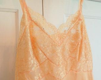 Vintage Peach Lace Slip, Vintage Lingerie, 50s 60s Undergarments, 1960s Orange Sherbert Lace Slip