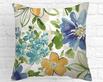 One Abstract Blue  Floral Pillow Cover 18x18 20x20 24x24 26x26 Flower pillow Ivory Green  Gold Accent  Cushion cover