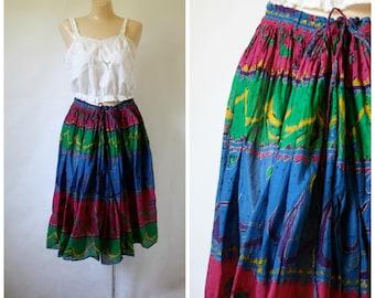 Vintage India Cotton Skirt / Festival Skirt /  India Summer Skirt