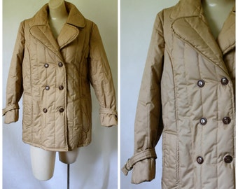 Vintage Double Breasted Coat /  1970's Coat / Quilted Coat / Brown Puffy Coat / Winter Coat M/L
