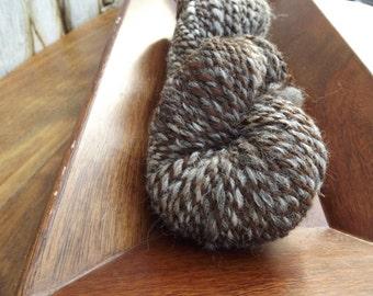 Handspun - Yarn Art - Rustic -  Natural Color Alpaca - Brown, Tan and Gray - Bulky Weight - 2 Ply - 176 Yards - 7.05 oz