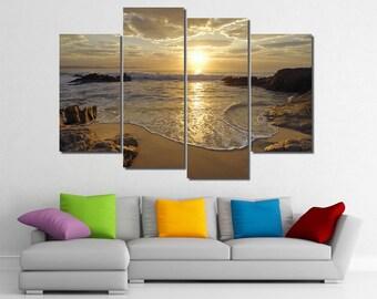 Framed Hugh 4 Panel Sunrise Sea Ocean Wave Sunset Beach Canvas Giclee Canvas Print - Ready to Hang