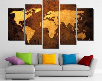 "60""x36"" Framed Huge 5 Panel Art World Map Giclee Canvas Print - Ready to Hang"