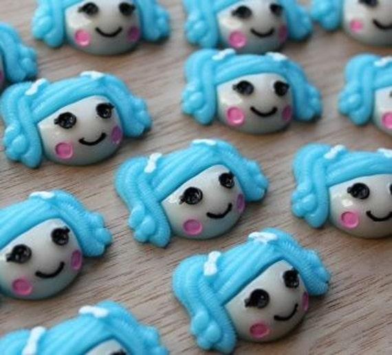 2 Pieces. Resin Flatback Cabochons 30mm Blue Rag Doll. Craft Supplies. DIY Supplies