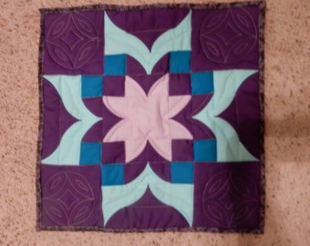 Purple and Aqua Quillted Table Runner