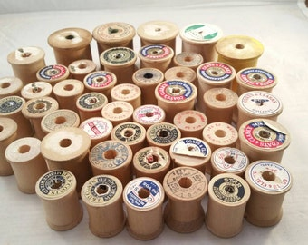 48 Vintage wooden thread spools lot 1
