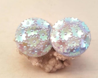 Vintage Western Germany blue aurora borealis floral glass clip on earrings