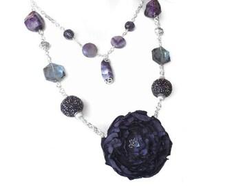 Purple Flower Fabric Necklace, Unique Jewelry, Two Tiered Necklace, Casual Chic Necklace, Flower Jewelry, Wedding Jewelry, Handmade Jewelry
