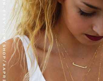 Bar Necklace, gold minimalist necklace, simple everyday Necklace, Dainty gold necklace, 14k Gold Fill bar necklace, Layering Necklace