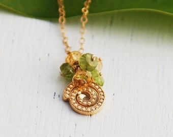 Spiral necklace, gold necklace, tiny gold necklace, peridot necklace, Best Friend Jewelry, November August Birthstone Necklace, wedding