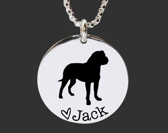 Bullmastiff Necklace | Bullmastiff Jewelry | Personalized Dog Necklace | 925 Sterling Silver Necklace by Korena Loves