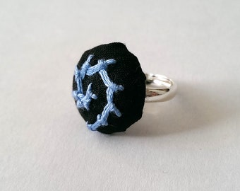 Blue Embroidered Ring, Blue Swirl Hand Stitched Ring, Black and Blue Silver Ring, Blue Embroidered Jewellery