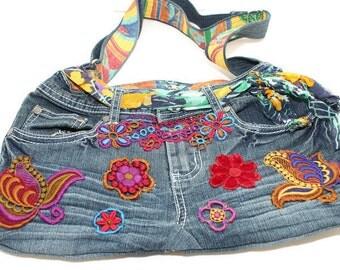 Lined shoulder jeans bag with adjustable strap
