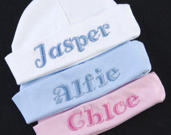Personalised Embroidered Name Baby HAT Boy girl Newborn Gift Pink Blue White Newborn any name can be embroidered upto 10 letters