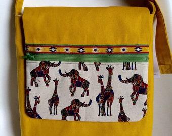 Safari animal Japanese print cotton canvas cotton Messenger/Shoulder bag