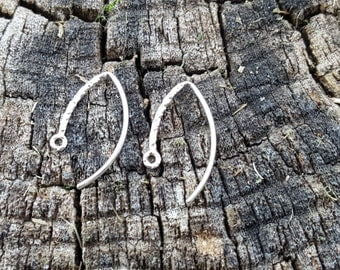 1 Pair 925 Sterling Silver Hammered 21g Fancy 19.5mm Long Earwires Made in Usa