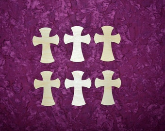 """Unfinished Wood Crosses Wooden Craft Shapes 4"""" Inch Tall 6 Pieces  # C04-121"""