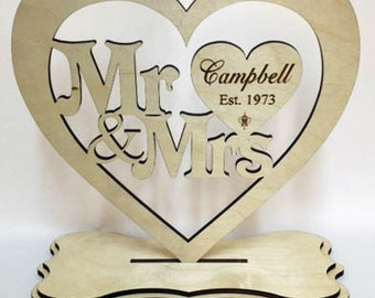 Mr & Mrs Engraved Standing Heart Wood Personalized Wedding Table Decorations