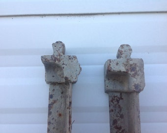 Vintage antique iron Bed Side Rails Tapered Drop pin