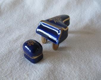 Vintage Miniature Piano Japan Dollhouse Miniature Cobalt Blue Gold