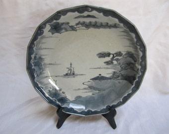 Antique Japan Ko Imari Bowl Plate Charger Sometuke Handpainted 16 Sided
