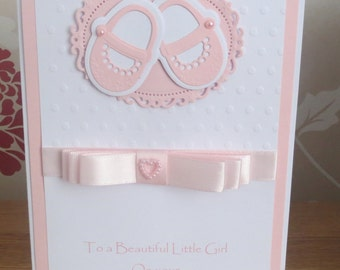 Luxury, Girls, Christening, Baptism, Naming Day, pink, Handmade card