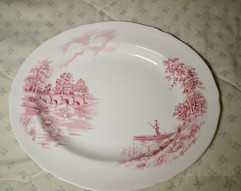 ON SALE  Vintage Platter by Alfred Meakin in Pink and Cream in a Pattern Called English Bridges