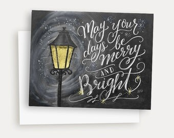Christmas Card - Merry and Bright - Christmas Cards - Christmas Greeting - Chalk Lettering  - Chalk Art - Hand Lettered Holiday