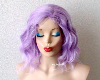 Pastel wig. Lavender wig. Short wig. Beach wave hairstyle Durable heat friendly wig for daily use or Cosplay.