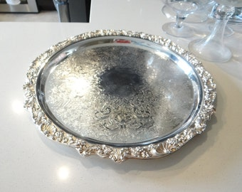 "International Silver 18"" Silverplate Round Scalloped Edge Tray with Etched Design - Elegant Serving Tray"