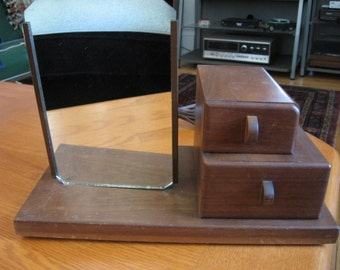 1950s The Hollywood Makeup Mirror Lighted Two Drawer Stand