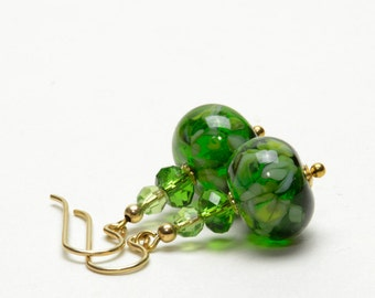 Fern Green Lampwork Earrings with Swarovski Crystal Accents on Gold Filled Earwires - Green and Gold Earrings