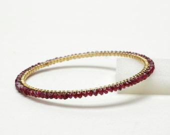 Genuine Ruby Bracelet - Gold Filled Wire Wrapped Ruby Gemstone Bangle - Stacking Bracelet -  July Birthstone Gifts - Ruby Jewelry