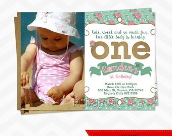 Girls Shabby Chic 1st Birthday Invitation