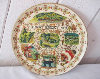 Great Smoky Mountains round tray, National Park souvenir tray, rustic cabin decor, Cherokee Indian, mid century, advertising, 1096