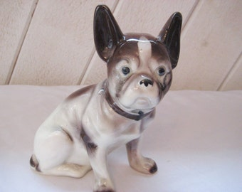 Large Vintage French Bull dog or Boston Terrier, vintage chihuahua, brown white dog figurine