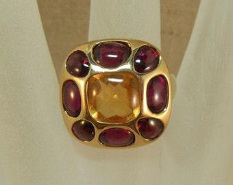 Fine 14K Citrine Rhodolite Garnet Ring Size 7