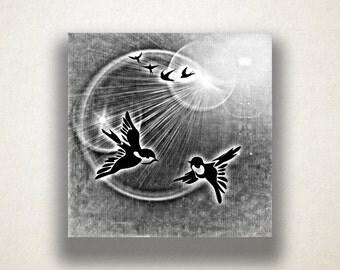 Birds in Sunlight Canvas Art Print, Sunshine Wall Art, Animal Canvas Print, Artistic Wall Art, Canvas Art, Canvas Print, Home Art, Wall Art