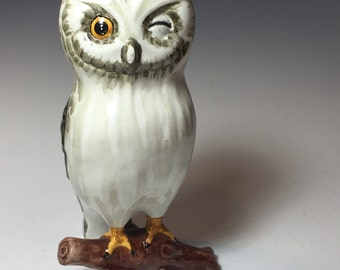 Sweet Ceramic Winking Owl