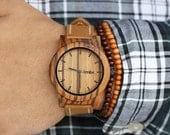 Wood Watch, Minimalist Men's Zebra Wood Watch, Brown Leather Strap Watch - BRLY-Z