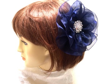 Navy Flower Fascinator, Large Navy Hair Flower, Navy and White Flower. Large Navy Flower, Navy Blue Hair Clip
