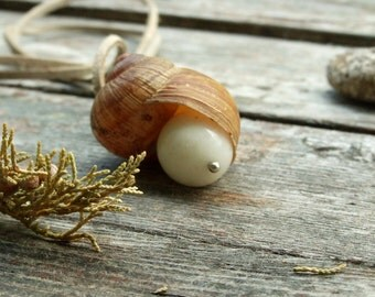Natural pendant with a snail shell and white stone, original jewelry, boho style, beige and white, large