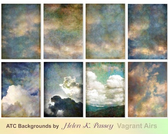 Downloadable Artist Trading Card Background, Clouds